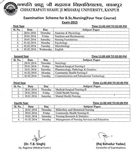 EXAMINATION DATES DECLARED BY THE UNIVERSITY FOR B.SC. NURSING