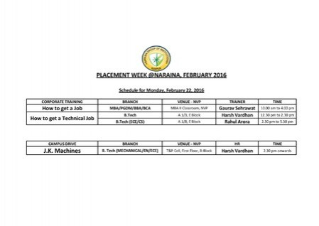 PlACEMENT WEEK@NARAINA, FEBRUARY 2016