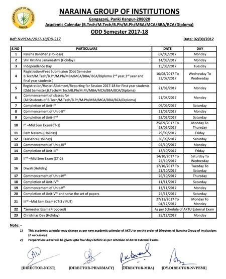 Academic Calendar for ODD SEMESTER 2017-18