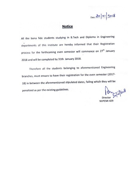 Notice for Even Semester Registration 2017-18 for NVPEMI