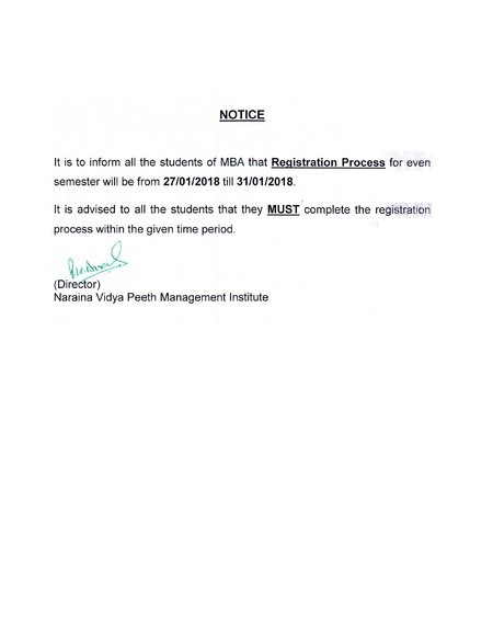 Notice for Even Semester Registration 2017-18 for NVPMI