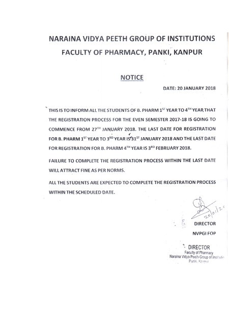 Notice for Even Semester Registration 2017-18 for NVPGIFOP