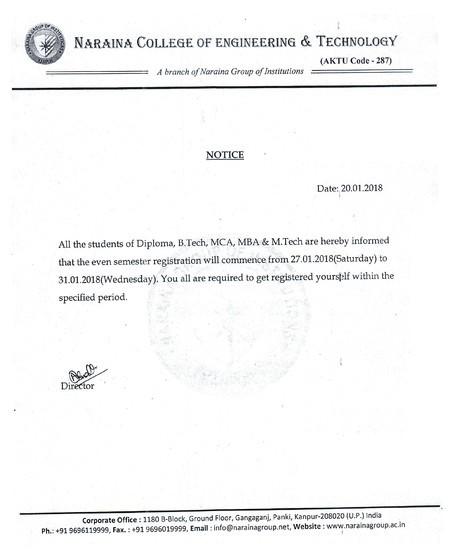 Notice for Even Semester Registration 2017-18 for NCET