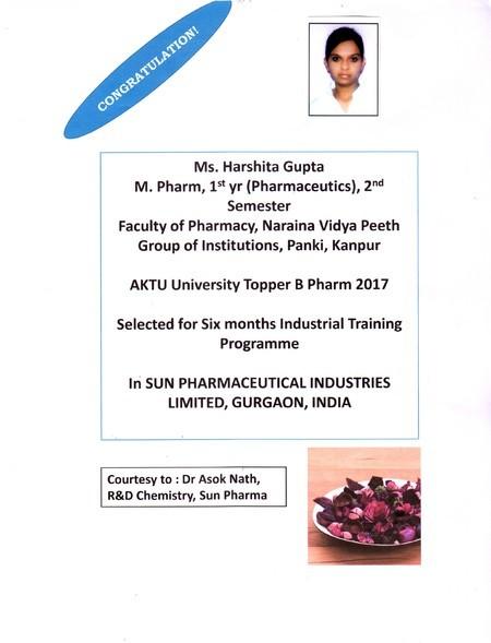 Selected for SUN PHARMACEUTICAL INDUSTRIES LTD Training Programme